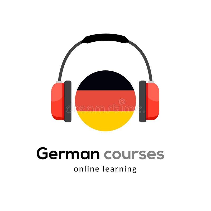 Niemiecka językowego uczenie logo ikona z hełmofonami Kreatywnie niemiec klasy potoczysty pojęcie mówi test i gramatykę royalty ilustracja