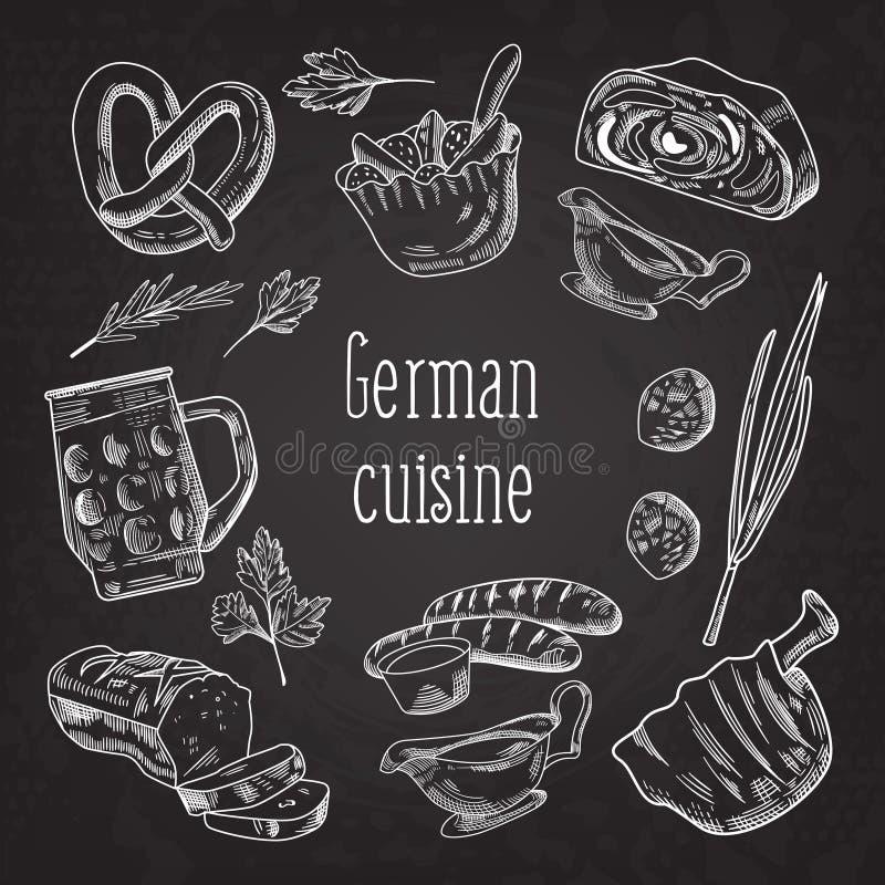 Niemiecka Tradycyjna Karmowa ręka Rysujący konturu Doodle Niemcy kuchni menu szablon Jedzenie i napój ilustracja wektor