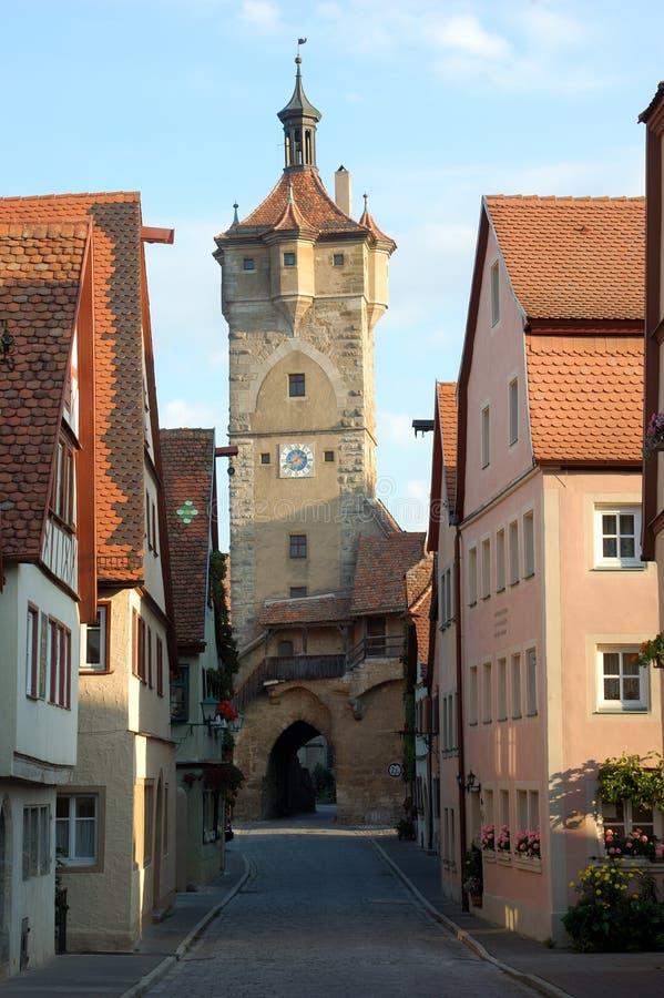 niemiecki średniowieczny ulicą miasta zdjęcia royalty free