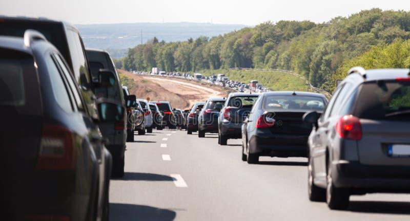 Niemiecki autobahn ruchu drogowego dżem fotografia royalty free