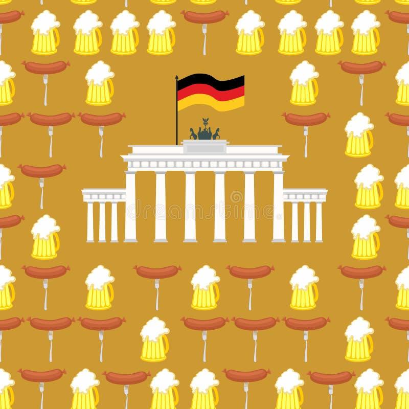 Niemiecki bezszwowy ornament Symbole Niemcy: piwo i kiełbasy ilustracji