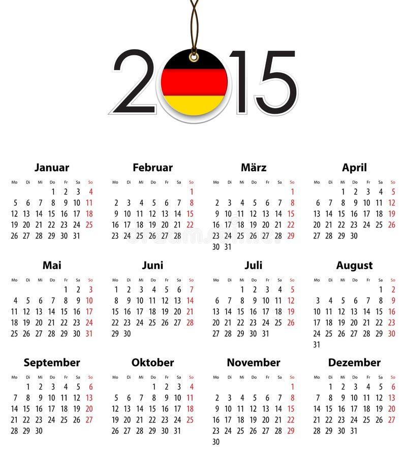 Niemiecki bryła kalendarz dla 2015 z flaga jak etykietka ilustracja wektor