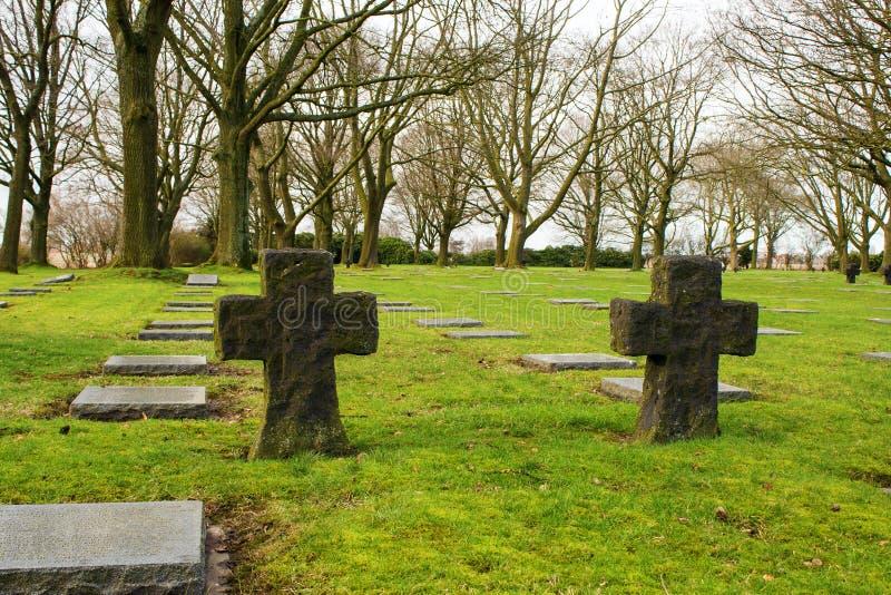 Niemiecki cmentarniany friedhof w Flanders polach menen Belgium obraz royalty free