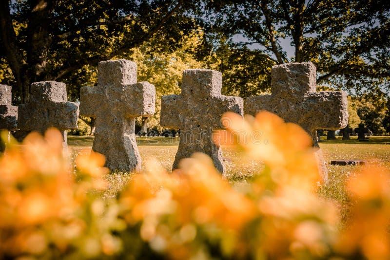 Niemiecki cmentarz przy losem angeles Cambe, Normandy, Francja obraz royalty free