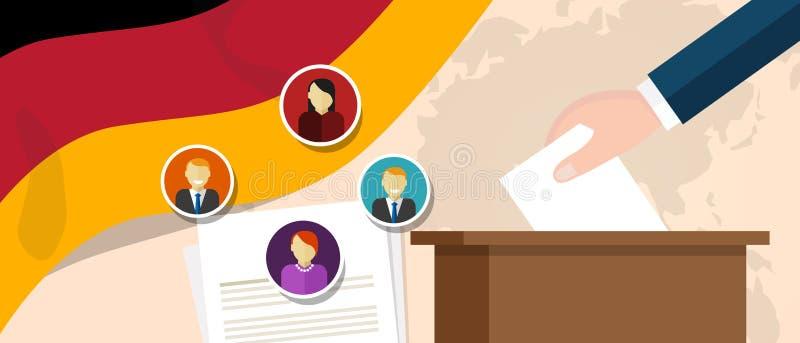Niemiecki demokracja proces polityczny wybiera prezydenta lub parlamentu członka z wolnością głosować wybory i referendum ilustracji
