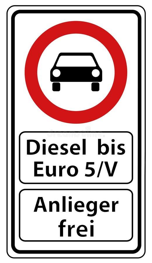 Niemiecki Drogowy znak: Olej napędowy Do euro 5 Wektorowej ilustraci Z Czarnym samochodem Swobodnie - Otwiera Dla mieszkanów - royalty ilustracja