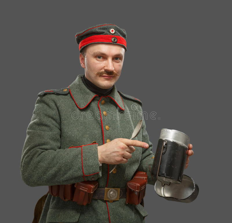 Niemiecki infantryman podczas pierwszy wojny światowa. zdjęcia royalty free