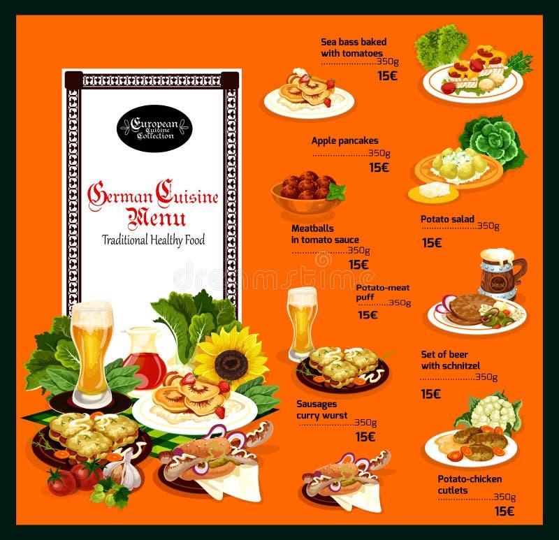 Niemiecki kuchnia menu z tradycyjnym zdrowym jedzeniem royalty ilustracja