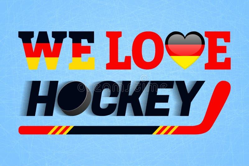 Niemiecki lodowego hokeja tło Niemcy miłości hokejowy wektorowy plakat Kierowy symbol w tradycyjni Germańscy kolory Dobry ilustracja wektor