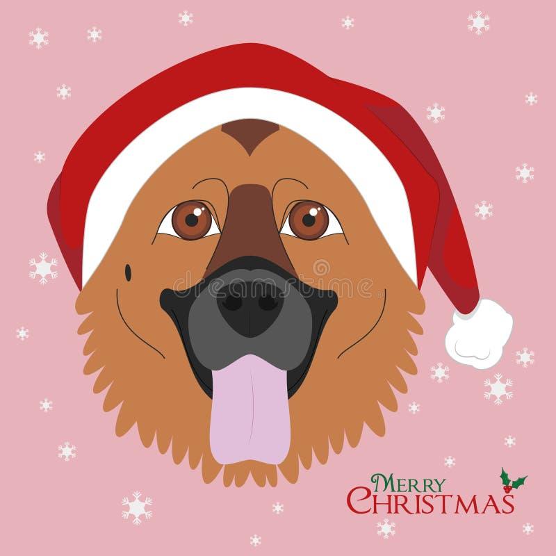 Niemiecki Pasterski pies z czerwonym Santa ` s kapeluszem ilustracja wektor