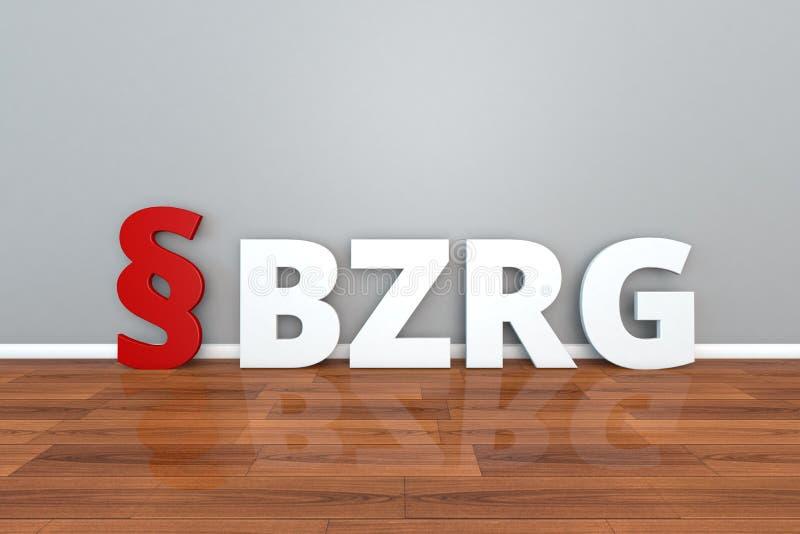 Niemiecki prawa BZRG skrót dla prawa na centrala rejestrze i Edukacyjnej rejestru 3d ilustraci ilustracja wektor