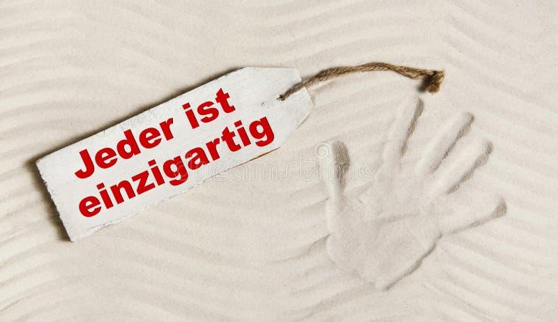 Niemiecki slogan: Everybody jest unikalny Pojęcie dla psychologicznego th obraz royalty free