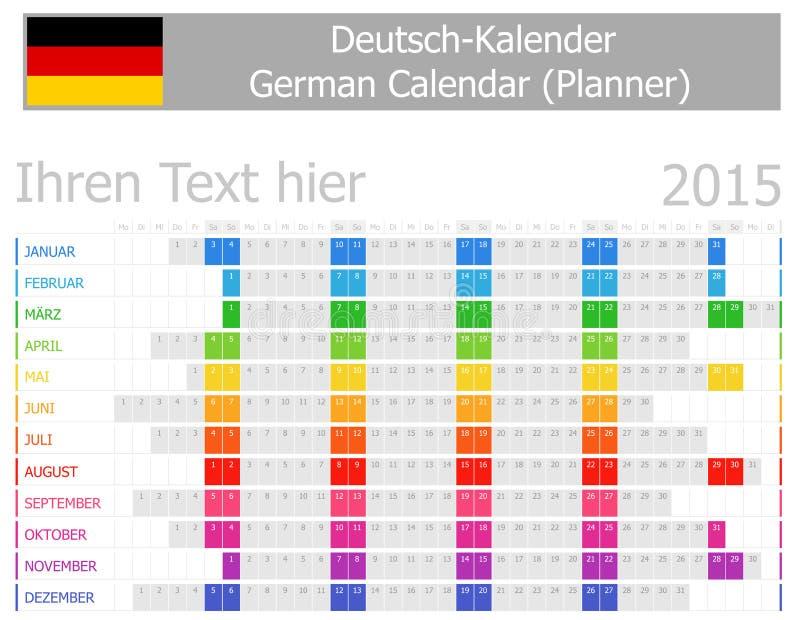 2015 Niemieckich planistów kalendarzy z Horyzontalnymi miesiącami royalty ilustracja