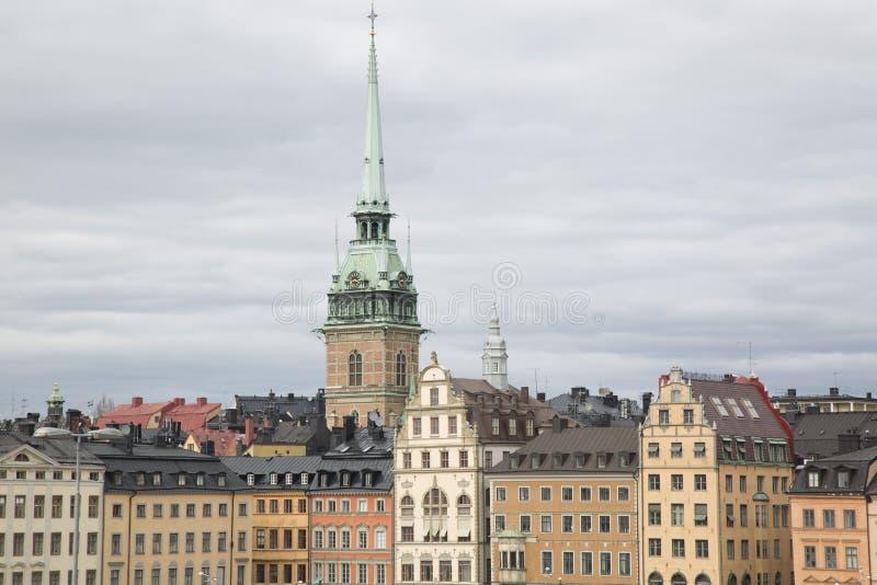 Niemieckie kościół i budynku fasady w Starym miasteczku; Sztokholm obrazy stock