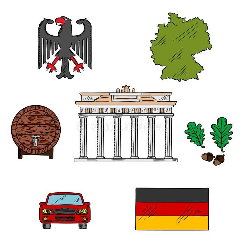 Niemieckie kultury i podróży ikony royalty ilustracja