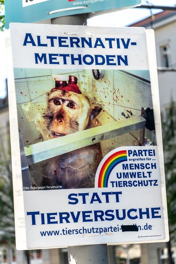 Niemieckiego Zwierzęcej ochrony przyjęcia polityczny plakat obraz stock