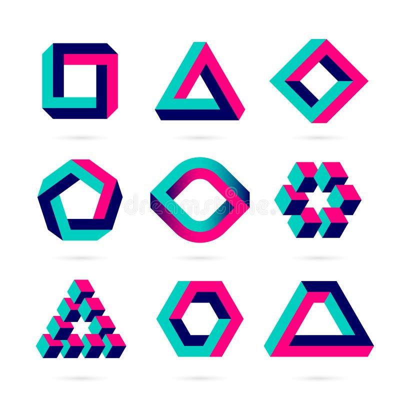 Niemożliwi kształty, okulistycznego złudzenia przedmioty ilustracja wektor
