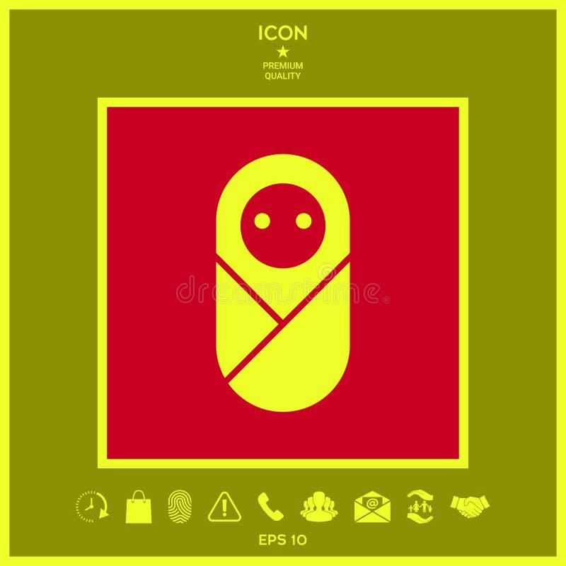 Niemowlak, neonate, nowonarodzona ikona ilustracja wektor