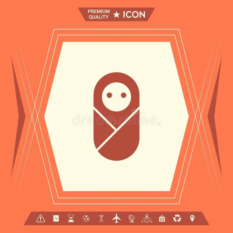 Niemowlak, neonate, nowonarodzona ikona ilustracji