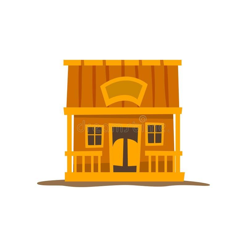 Nieociosana drewniana beli kabina, tradycyjnego eco domu wektorowa ilustracja na białym tle royalty ilustracja