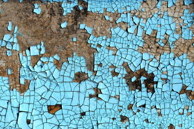 Nieociosana hardboard tekstura z narysami, pęknięcia i błękitny obieranie, malujemy Grunge tło obraz stock