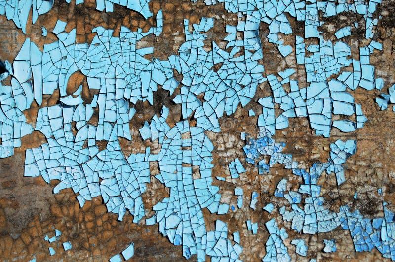 Nieociosana hardboard tekstura z narysami, pęknięcia i błękitny obieranie, malujemy Grunge tło zdjęcie stock