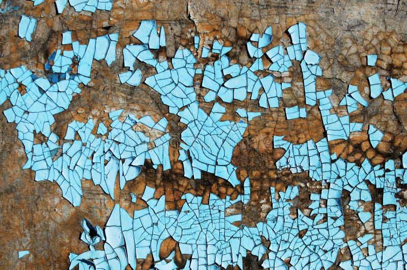Nieociosana hardboard tekstura z narysami, pęknięcia i błękitny obieranie, malujemy Grunge tło fotografia stock
