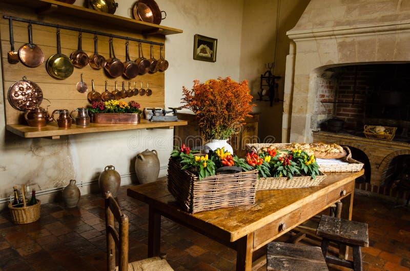 Nieociosana kuchnia Villandry kasztel – Francja obrazy stock