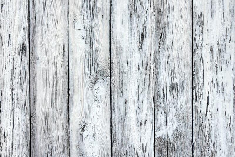 Nieociosana tekstura wietrzejący światło - szarość malowali drewniane deski zdjęcie royalty free