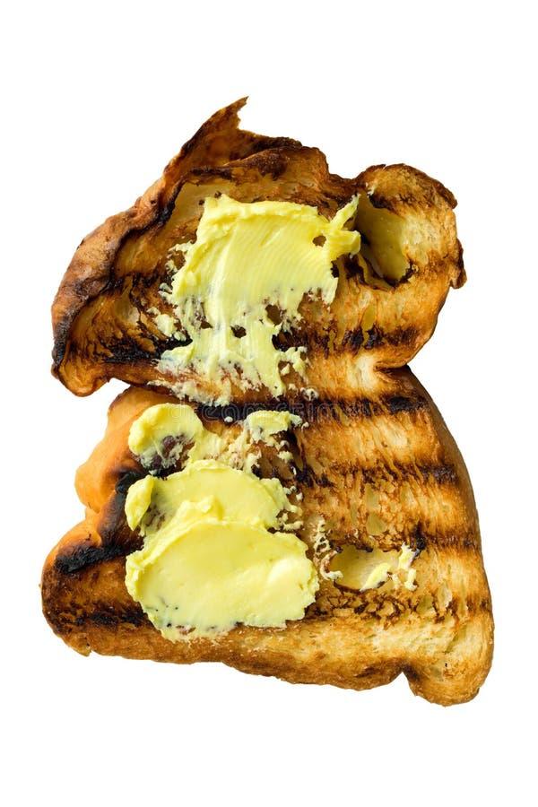 Nieociosana złota piec na grillu chlebowa grzanka odizolowywająca fotografia stock
