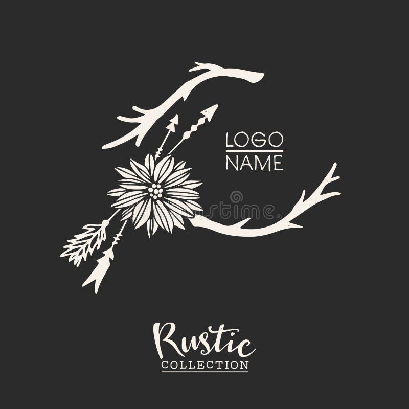 Nieociosanego premade typograficzny logo z kwiatami, gałąź i strzała, ilustracji