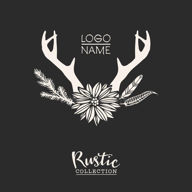 Nieociosanego premade typograficzny logo z kwiatami, gałąź, poroże i piórkami, ilustracji