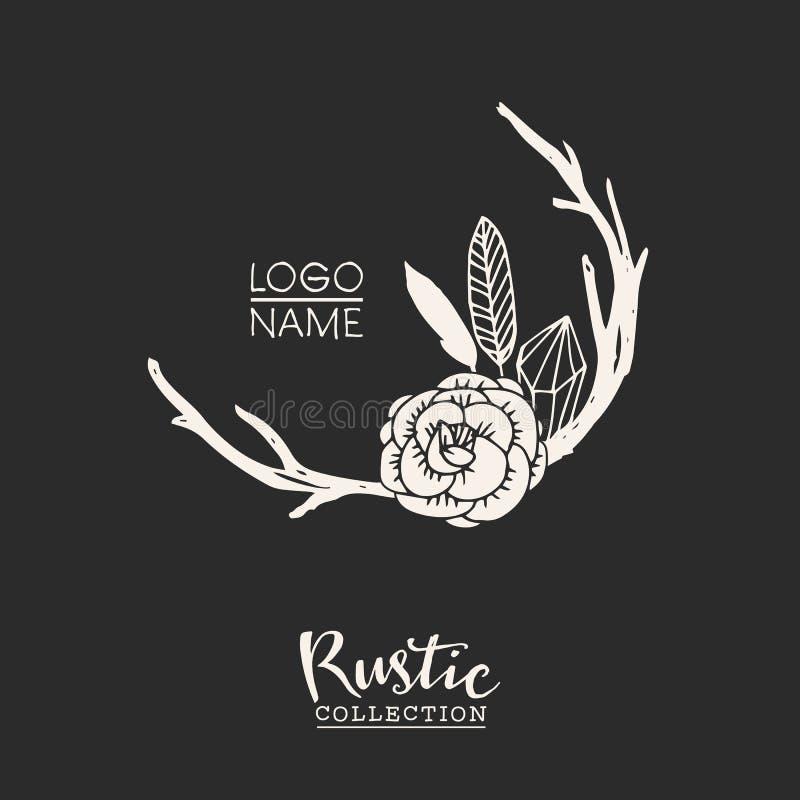 Nieociosanego premade typograficzny logo z kwiatami, gałąź, poroże i piórkami, royalty ilustracja