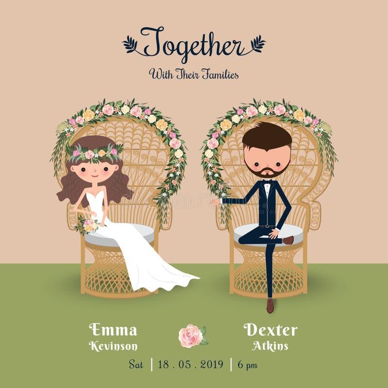 Nieociosanej artystycznej kreskówki pary zaproszenia ślubna karta