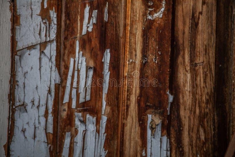 Nieociosanej stajni drewniana tekstura z białą obieranie farbą zdjęcie stock