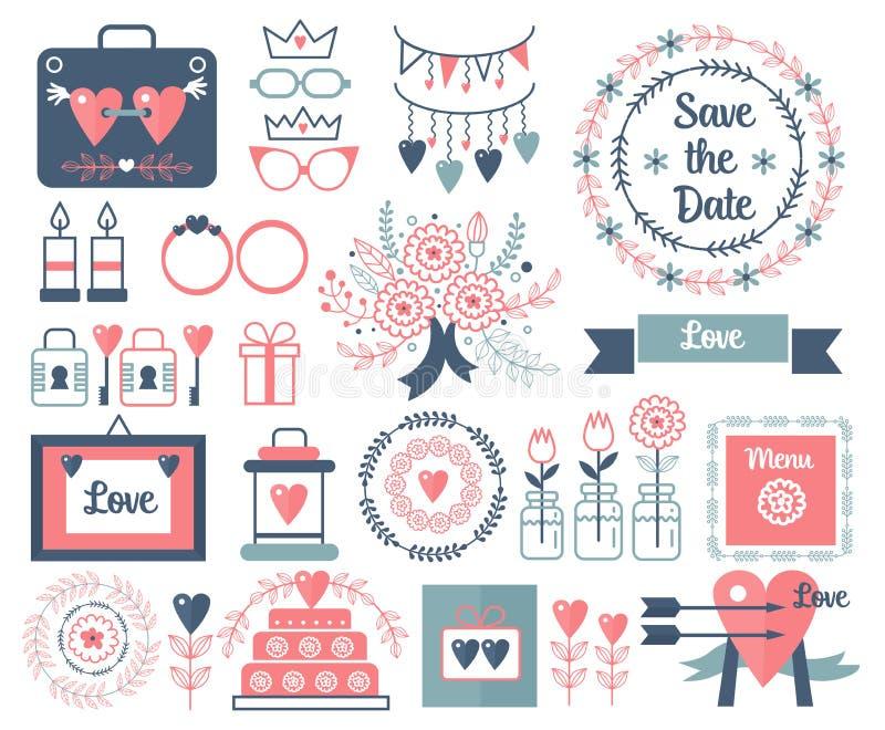 Nieociosanej wektorowej ręki rysunkowi ślubni elementy ustawiający Kwiecisty rocznik doodles, opuszcza, kwitnie, i ramy data save royalty ilustracja