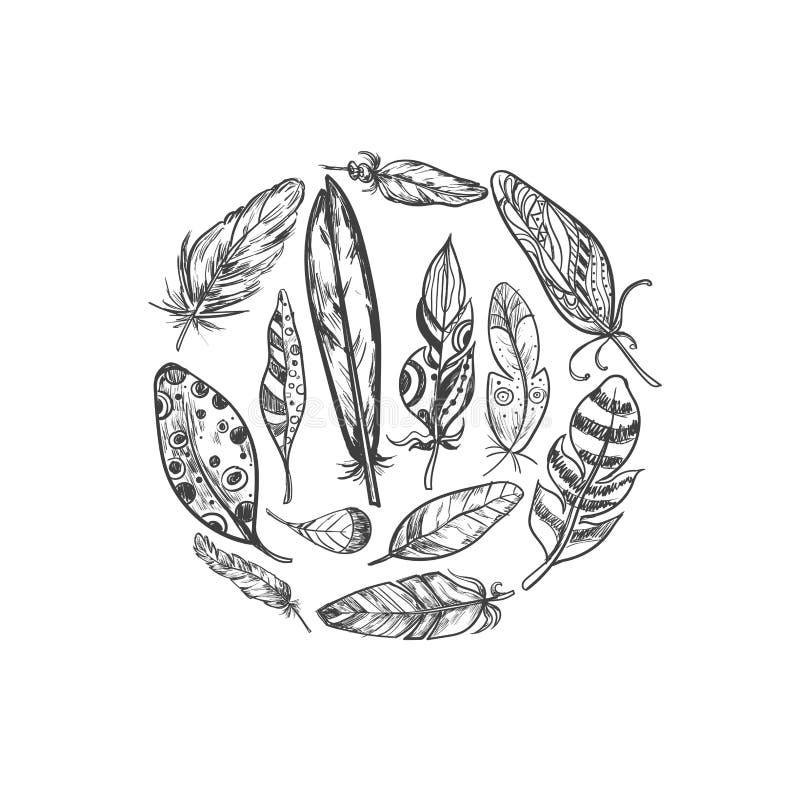 Nieociosani Etniczni czecha stylu piórka Wektorowa ręka rysujący rocznika wektoru set Czarny i biały atrament ilustracja Rocznik  royalty ilustracja