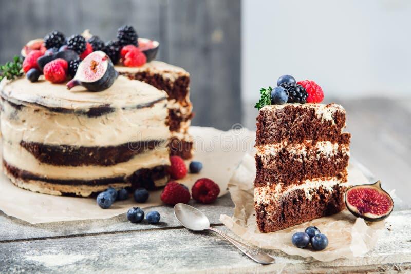 Nieociosany czekoladowy tort fotografia royalty free