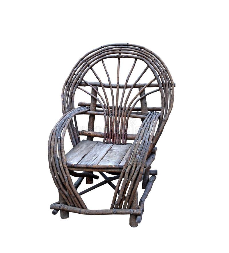 Nieociosany drewniany ogrodowy krzesło zdjęcia stock