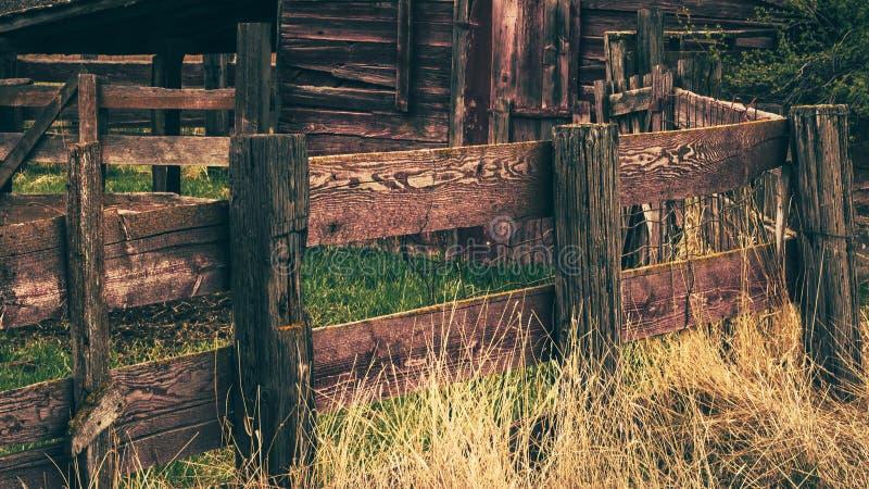 Nieociosany Drewniany Rolny Corral ogrodzenie obrazy stock