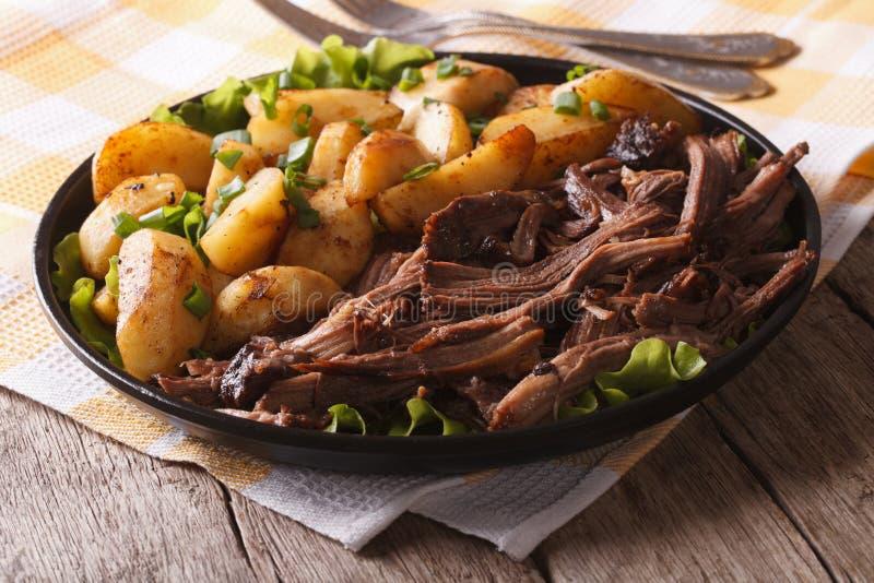 Nieociosany jedzenie: Ciągnąca wieprzowina i smażący gruli zamknięty up zdjęcia royalty free