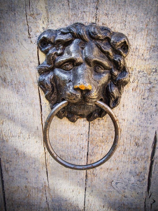 Nieociosany stary drzwiowy knocker obrazy stock