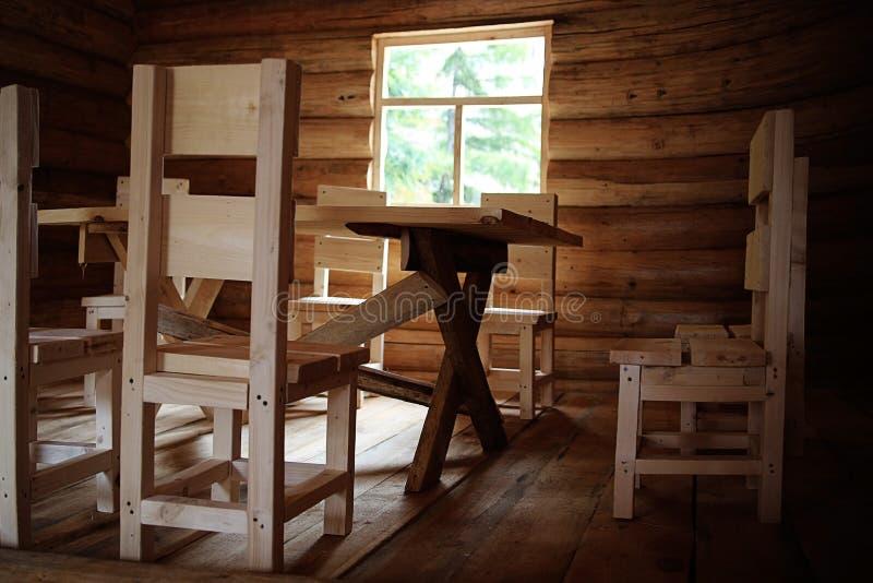 Nieociosany wewnętrzny drewniany dom fotografia stock