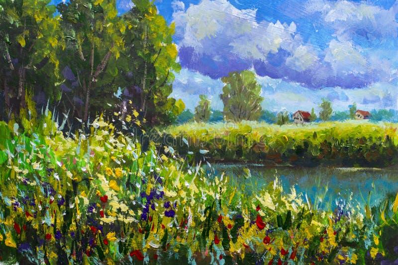 Nieociosany wiejski krajobraz Pole wysoka trawa i kwiaty, Rolni Wiejscy domy z czerwień dachem, ampuła chmurnieje, rzeka, brzeg,  royalty ilustracja
