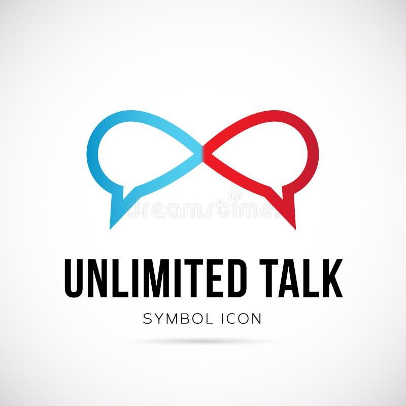 Nieograniczonej rozmowy pojęcia symbolu Wektorowa ikona lub logo ilustracja wektor