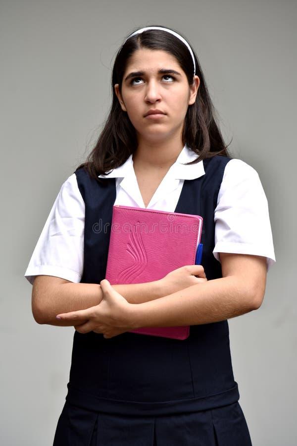 Nieopiekuńcza Kolumbijska Studencka nastolatek szkoły dziewczyna Z notatnikiem zdjęcie royalty free
