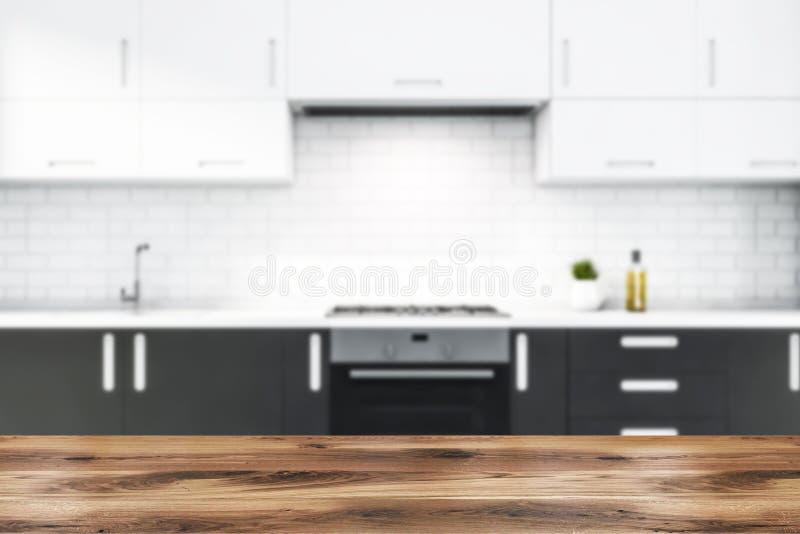 Nieostra kuchnia z cegły białej z szarymi kontrapami ilustracja wektor