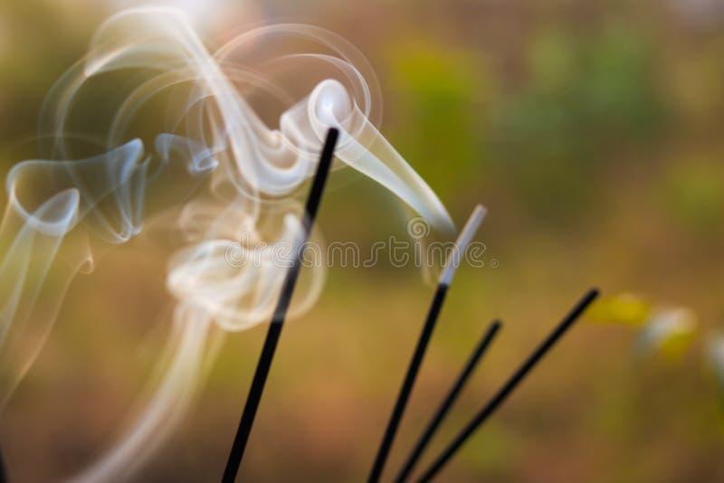 Nieostre palenie kadzidła w świątyni zdjęcie royalty free