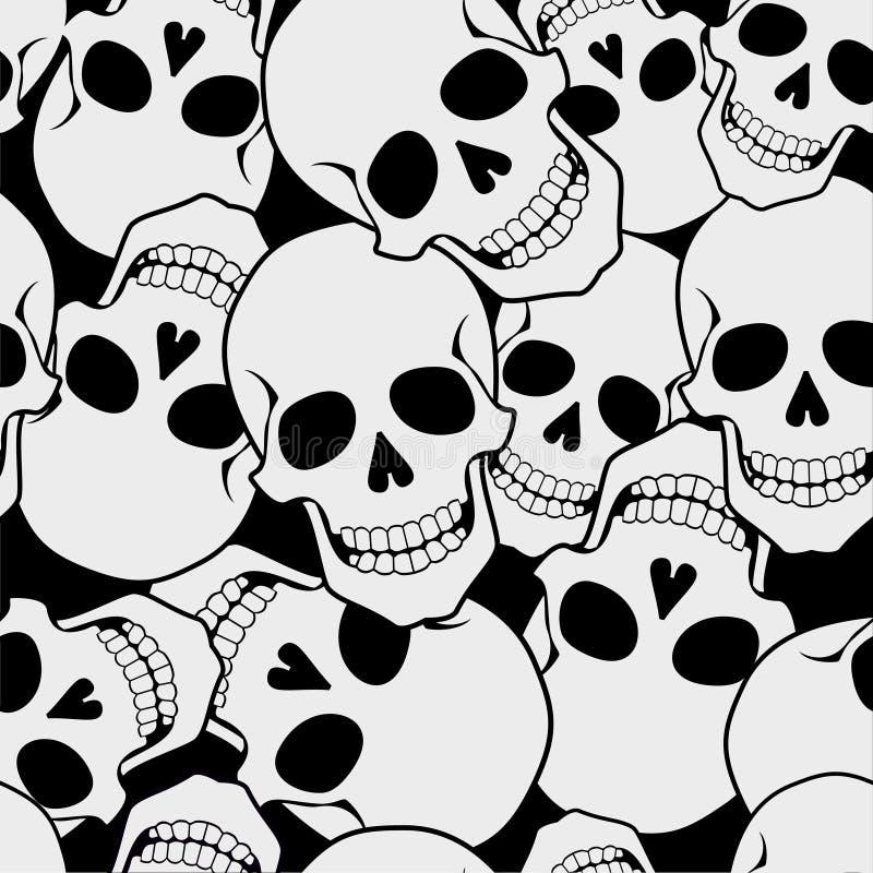 Nieozdobny wzór róże i czaszka ilustracja wektor