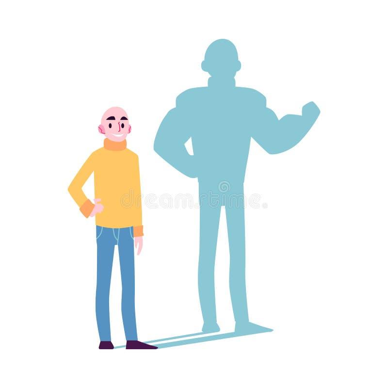 Niepłonna mężczyzna ikona z bohatera cienia płaską wektorową ilustracją odizolowywającą ilustracji